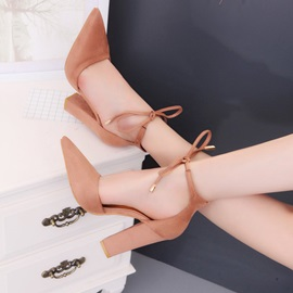 Pointed Toe Lace-Up Chunky Heel Pumps