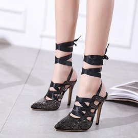 Rhinestone Strappy Stiletto Heel Lace-Up Women's Sandals