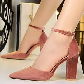 Line-Style Buckle Pointed Toe Chunky Heel Women's Pumps