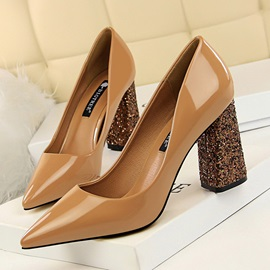 Plain Chunky Heel Sequin Pointed Toe Women's Pumps