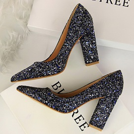 Chunky Heel Sequin Pointed Toe Women's Pumps