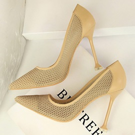 Mesh Pointed Toe Hollow Slip-On Women's Pumps