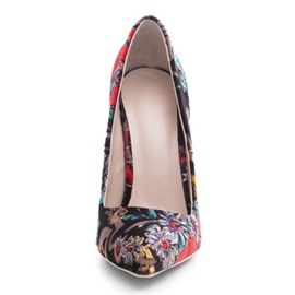 Floral Slip-On Stiletto Heel Pointed Toe Pumps