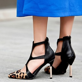 Leopard Print Stiletto Heel Pointed Toe Buckle Women's Pumps
