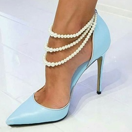 Pointed Toe Elastic Band Beads Pumps