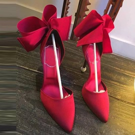 Customized Bow Slip-On Pointed Toe Prom Shoes