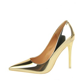 Metallic Pointed Toe Slip-On Women's Pumps