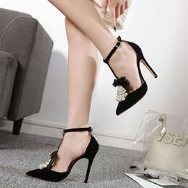 Bow Pointed Toe Buckle Beads Women's Prom Shoes