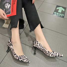 Print Pointed Toe Slip-On Mid-Heel Thin Shoes