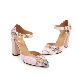 Floral Pointed Toe Buckle Women's Pumps