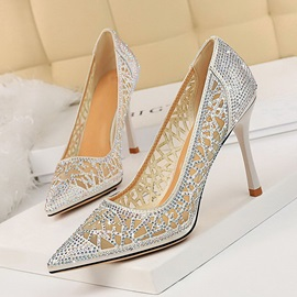Pointed Toe Slip-On Silk Fabric Prom Shoes