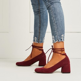 Round Toe Chunky Heel Lace-Up Vintage Pumps