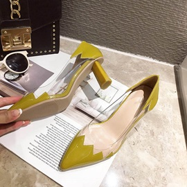 Pointed Toe Slip-On Chunky Heel Patchwork Pumps