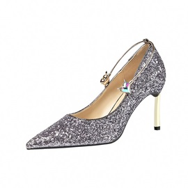 Pointed Toe Stiletto Heel Glitter Pumps