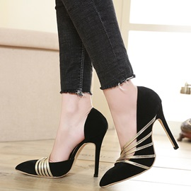 Stiletto Heel Pointed Toe Slip-On Pumps