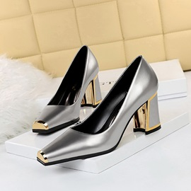 Slip-On Sequin Chunky Heel Low-Cut Upper Thin Shoes