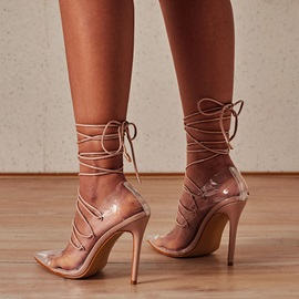 Cross Strap Pointed Toe Lace-Up Plain Thin Shoes