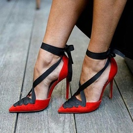 Pointed Toe Lace-Up Stiletto Heel Banquet Thin Shoes