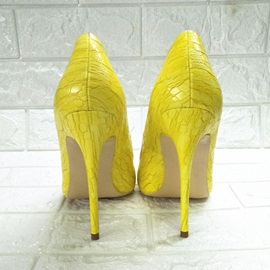 Pointed Toe Print Stiletto Heel Low-Cut Upper Thin Shoes