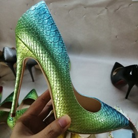 Pointed Toe Serpentine Stiletto Heel Low-Cut Upper Thin Shoes