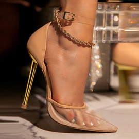 Chain Pointed Toe Stiletto Heel Plain Thin Shoes