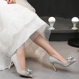 Wedding Shoes Appliques Pointed Toe Stiletto Heel Plain Thin Shoes
