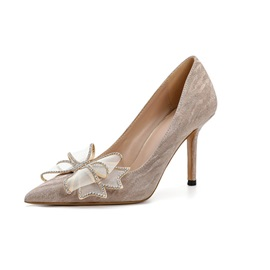 Wedding Shoes Bow Stiletto Heel Pointed Toe Plain Thin Shoes