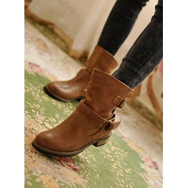 Fashionable Buckle Brown PU Upper Flat Boots