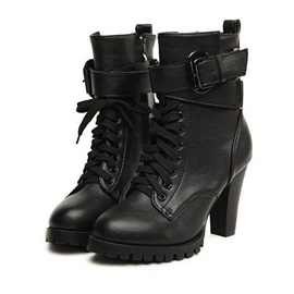 Buy Deluxe Black PU Upper Chunky Heels Ankle Boots Straps