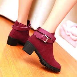 Multi Color Buckle Chunky Heels Short Boots