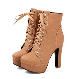 Multi Colour Lace-Up Stiletto Heels Short Boots