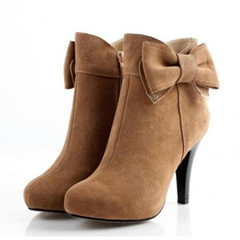 Buy Solid Color Bowtie Stiletto Heel Ankle Boots