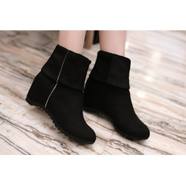 Solid Color Round Toe Elevator Heel Short Boots