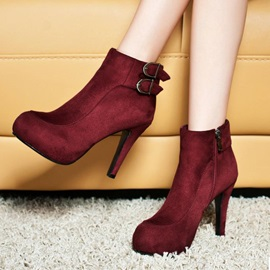 Buckles Side Zipper Stiletto Heel Ankle Boots