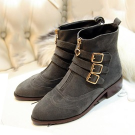 Pointed Toe Metal Buckle Ankle Boots