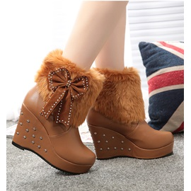 Faux Fluff Rivet Decorated Bowknot Ankle Boots