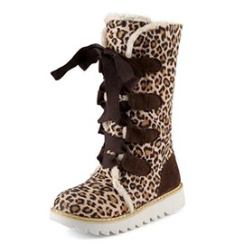 Leopard Printed Suede Lace-Up Snow Boots