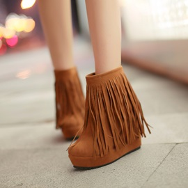 Ethnic Tassel Solid Color Wedge Boots