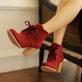 Solid Color Suede Chunky Heel Lace-Up Booties