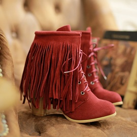 Suede Tassel Lace-Up Chunky Heel Booties