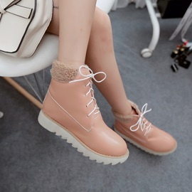Thread PU Round Toe Booties