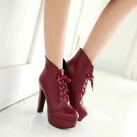 Solid Color Lace Platform Women's Booties