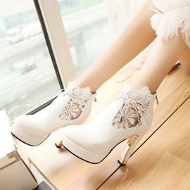 Lace Patchwork Platform Short Booties