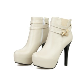 Round Toe Side-Zip Platform Ankle Boots