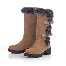 Furry Round Toe Buckles Women