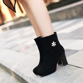 Suede Round Toe Studded Women's Short Boots