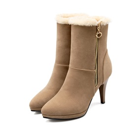 Solid Color Pointed Toe Side-Zip Booties
