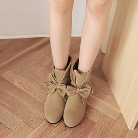 Sweet Bowknot Elevator Heel Snow Boots