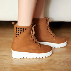 Round Toe Studded Lace-Up Women's Martin Boots