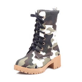 Camouflage Color Lace-Up Chunky Heel Motorcycle Boots